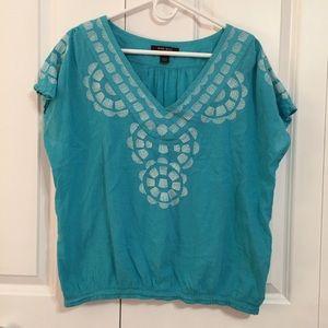 Nine West Teal Blue Embroidered Boho Top